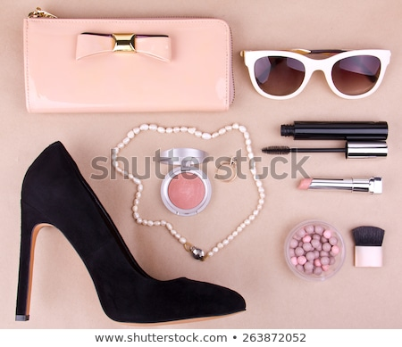 classic female shoes with black handbag clutch stock photo © elisanth