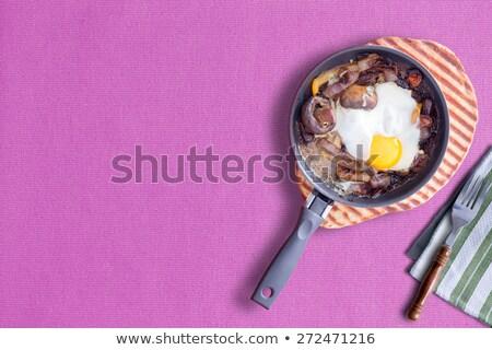 Sunny Side up Omelette on Violet, Copy Space at Left Stock photo © ozgur