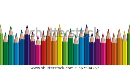 Stock fotó: Színes · ceruzák · hullám · függőleges · keret · tarka
