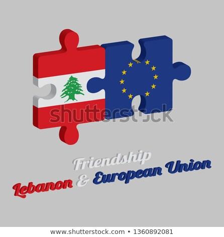 европейский Союза Ливан флагами головоломки вектора Сток-фото © Istanbul2009