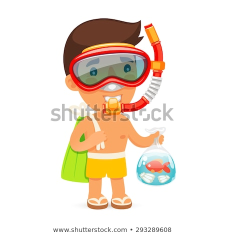 Young Man in Swim Mask Keeps Bag with Fish Stock photo © Voysla