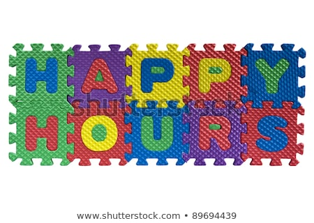 Stock photo: Happy Hours on Green Puzzle.