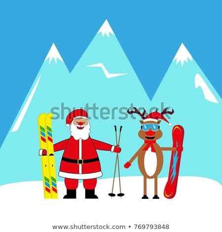 Kerstman skiër illustratie sport springen geschenk Stockfoto © adrenalina