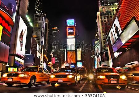 Geel taxi Times Square New York City gebouw reizen Stockfoto © vwalakte