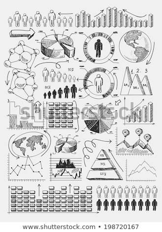 hand draw doodle dot bar pie charts diagrams and graphs Stock photo © netkov1