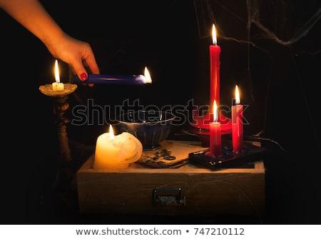 Cera tradição vela noite previsões mão Foto stock © laciatek