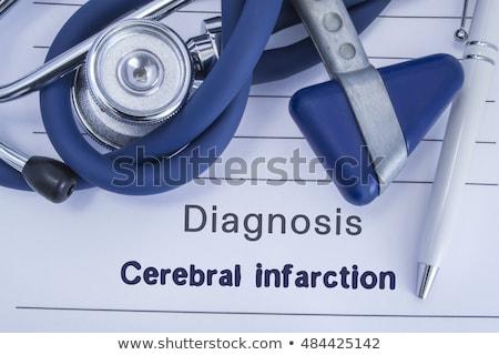Agyi szívinfarktus diagnózis orvosi nyomtatott kék Stock fotó © tashatuvango