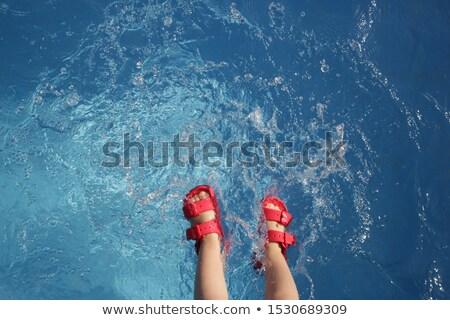 Baby sandały krawędź basen pary Zdjęcia stock © filipw