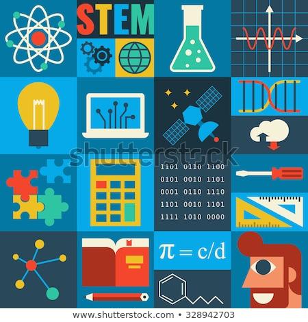 Wetenschap technologie collage atomair symbolen Stockfoto © x7vector