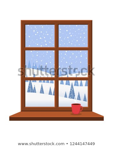 Frosted window and coffee cup, winter background, vector illustration Stock photo © carodi