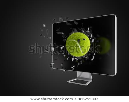 tennis ball destroy computer screen. Stock photo © teerawit