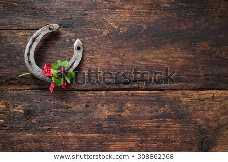 Green shamrock clovers on wooden background Stock photo © vlad_star