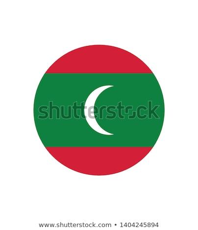 Maldivler bayrak düğme seyahat siluet rüzgâr Stok fotoğraf © ojal