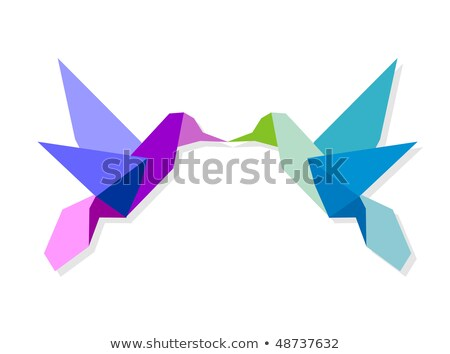 Couple of colorful origami hummingbird Stock photo © cienpies