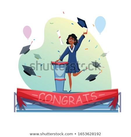 Ukończeniu ceremonia mowy dziewczyna absolwent podium Zdjęcia stock © vectorikart