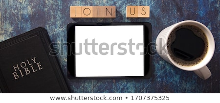 join us on wooden table stock photo © fuzzbones0