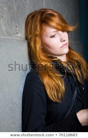 Triest eenzaam humeurig portret jonge Stockfoto © lithian