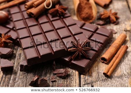 Csokoládé szelet fűszer csokoládé fekete főzés tábla Stock fotó © M-studio
