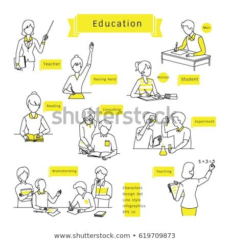 Rajz egyszerű tanár illusztráció fehér háttér Stock fotó © bluering