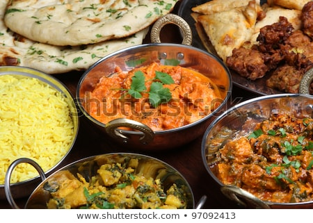 Chicken and Spinach Curry. Indian cuisine Stock photo © zoryanchik