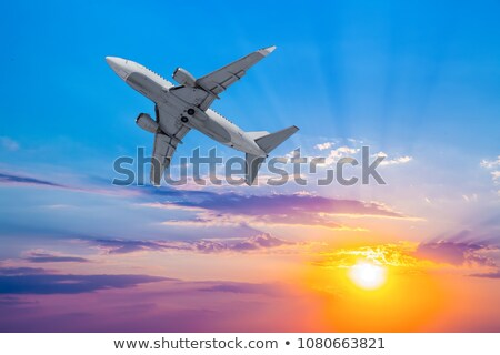aircraft and the setting sun Stock photo © tracer