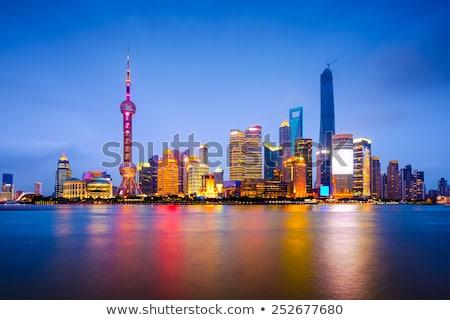 Rio Xangai China olhando para baixo arranha-céus cityscape Foto stock © billperry