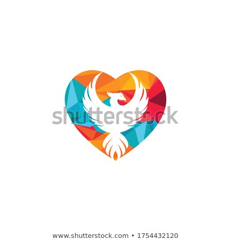 Hart phoenix brand ontwerp frame Rood Stockfoto © blackmoon979