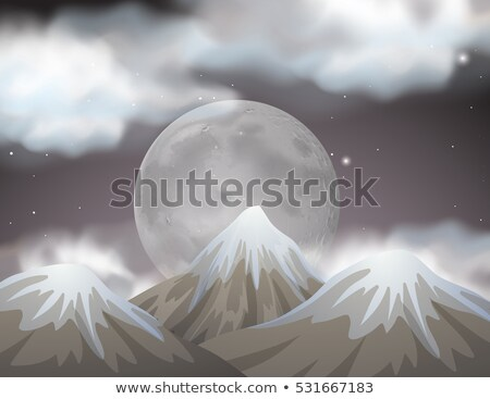 Nature scene with fullmoon behind the mountains Stock photo © bluering