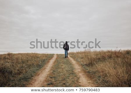 Сток-фото: подростку · ходьбе · далеко · Постоянный · изолированный · белый