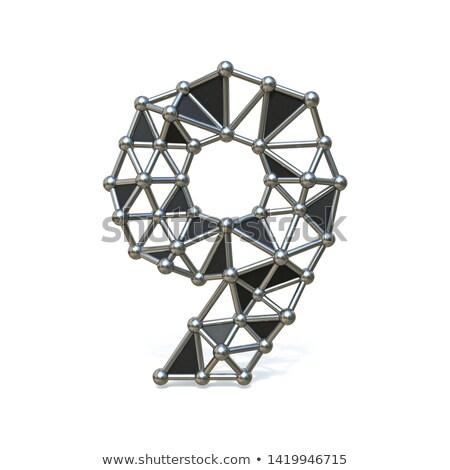 Metal cifre numero nove 3D rendering 3d Foto d'archivio © djmilic