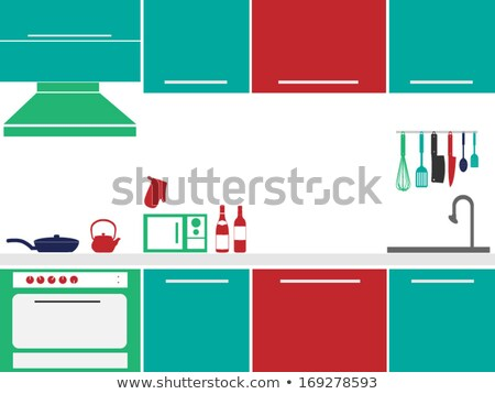 vector kitchen interior card flat illustration stock photo © marysan
