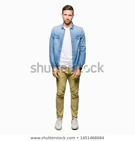 portret · ontdaan · jonge · man · shirt · hoofdpijn - stockfoto © feedough