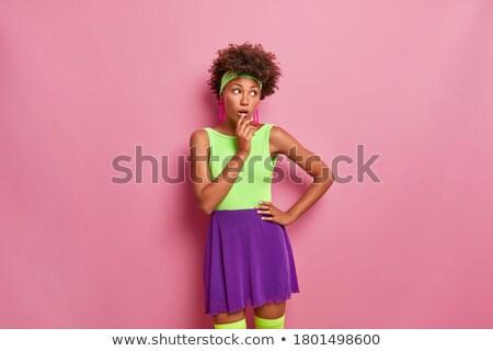 Hihetetlen nő pózol sötét kép fiatal Stock fotó © deandrobot