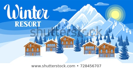 Berg huisje sneeuw bos mooie idyllisch Stockfoto © stevanovicigor
