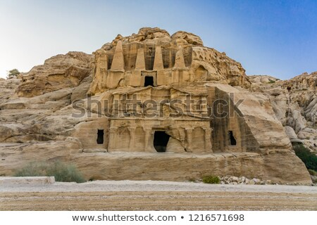 Sír külső kanyon bejárat Jordánia színes Stock fotó © billperry