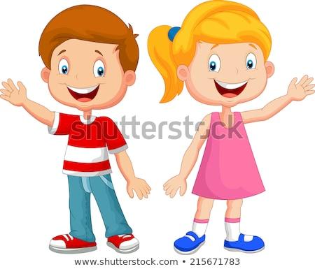 Stockfoto: Jongen · meisje · blij · gezicht · illustratie · gelukkig · kind