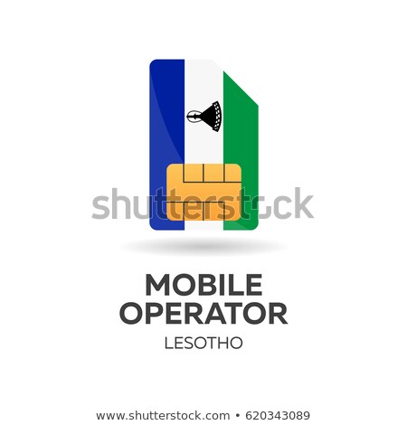 Lesotho mobile operator. SIM card with flag. Vector illustration. Stock photo © Leo_Edition