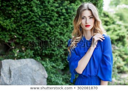 Mutlu genç güzel kız poz park güzel Stok fotoğraf © tekso