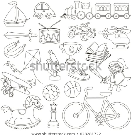 Coloring book boy on rocking horse Stock photo © clairev