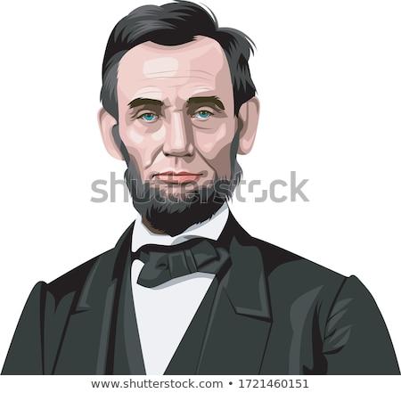 Cartoon portret prezydent czerwony tie Zdjęcia stock © Natalia_1947