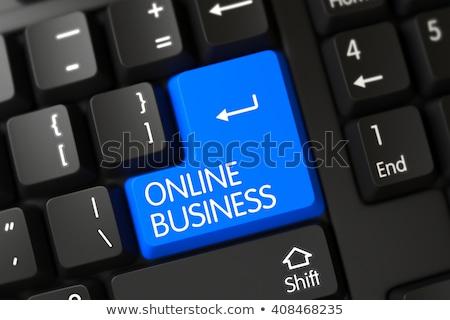 online · edzés · kék · billentyűzet · gomb · ujj - stock fotó © tashatuvango