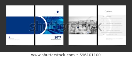 abstract blue business brochure flyer design template with trian Stock photo © SArts