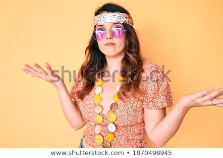молодые кавказский хиппи женщину Плечи путать Сток-фото © RAStudio