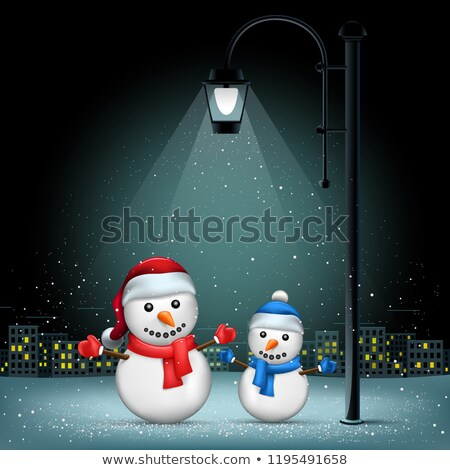 Christmas snowman pillar city background Stock photo © romvo