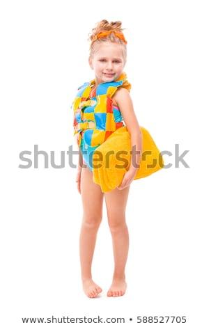 Mooie cute meisje Blauw zwemmen pak Stockfoto © Traimak