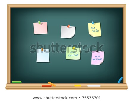 Stock photo: paper and pushpin on the blackboard