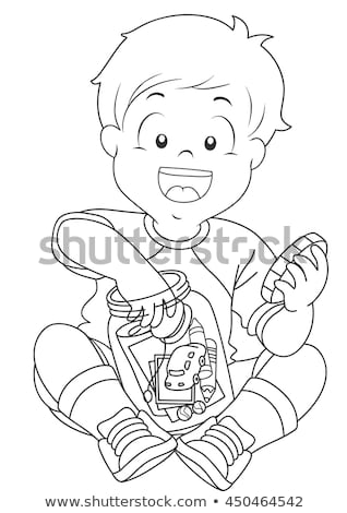 Kid ragazzo jar pagina bianco nero illustrazione Foto d'archivio © lenm