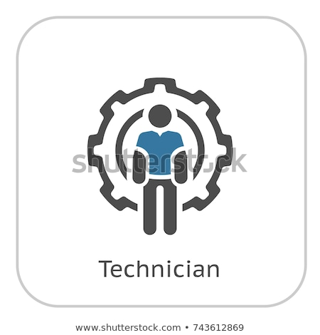 Técnico ícone homem roda dentada roda engenharia Foto stock © WaD