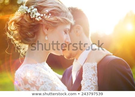 portré · menyasszony · vőlegény · áll · fal · boldog - stock fotó © is2