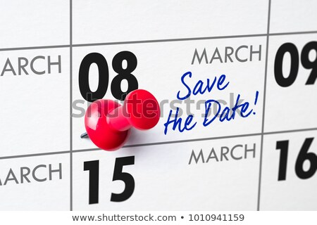 Wall calendar with a red pin - March 08 Stock photo © Zerbor